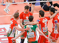 Belgian Pieter Verhees of Maaseik pictured celebrating with teammates after scoring during a Volleyball game between Knack Volley Roeselare and Greenyard Maaseik , the third game in a best of five in the play offs in the 2020-2021 season , saturday 10 th April 2020 at the Schiervelde international Sportshall in Roeselare  , Belgium  .  PHOTO SPORTPIX.BE   DAVID CATRY