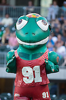 """Dennis Frogman"" of the Zooperstars entertains fans between innings of the International League game between the Columbus Clippers and the Charlotte Knights at BB&T BallPark on May 27, 2015 in Charlotte, North Carolina.  The Clippers defeated the Knights 9-3.  (Brian Westerholt/Four Seam Images)"