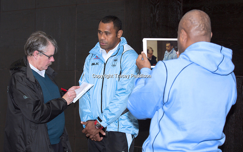 Wednesday 12 November 2014<br /> Pictured: Akapusi Qera<br /> Re: Vodafone Flying Fijians captain Akapusi Qera during a press conference at the Park Plaza Hotel, Cardiff ahead of the match against Wales on Saturday 15th November