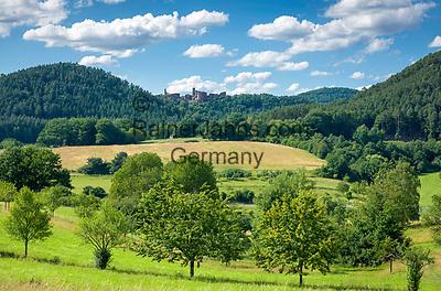 Deutschland, Rheinland-Pfalz, Dahner Felsenland im suedlichen Pfaelzerwald, bei Dahn: die Dahner Burgengruppe  besteht aus den drei Felsenburgen Altdahn, Grafendahn und Tanstein   Germany, Rhineland-Palatinate, Dahner Felsenland at southern Palatinate Forest, near Dahn: group of 3 castle ruins Altdahn, Grafendahn and Tanstein