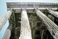 Portico columns at the Maison Carree, Nimes France, 20 BCE
