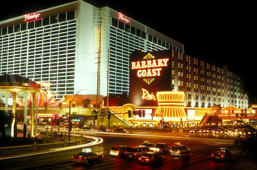 Las Vegas, Nevada, casinos, hotel, NV, Nightlife along The Strip at night in Las Vegas, the Entertainment Capital of the World. The Flamingo Casino.