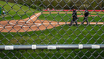 SOUTHBURY, CT 050721JS03—Pomperaug players have their spots along the fence labeled as they prepare to take on Bethel in baseball action  Friday at Pomperaug High School. <br /> Jim Shannon Republican American