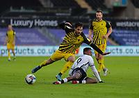 2nd January 2021; Liberty Stadium, Swansea, Glamorgan, Wales; English Football League Championship Football, Swansea City versus Watford; Kiko Femenia of Watford is tackled by Jamal Lowe of Swansea City
