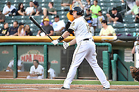 C.J. Cron (18) of the Salt Lake Bees at bat against the Round Rock Express in Pacific Coast League action at Smith's Ballpark on August 21, 2014 in Salt Lake City, Utah.  (Stephen Smith/Four Seam Images)