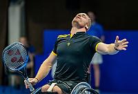 Alphen aan den Rijn, Netherlands, December 22, 2019, TV Nieuwe Sloot,  NK Tennis, Wheelchair men single final: Winner Maikel Scheffers (NED) celebrates his win<br /> Photo: www.tennisimages.com/Henk Koster