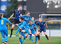 Brugge's Nicky Van Den Abbeele pictured in a headingduel with Union's Rachel Staf during a female soccer game between the women teams of Club Brugge YLA Dames and Union Saint-Ghislain Tertre-Hautrage Ladies on the 1/16 th qualifying round for the Belgian Womens Cup 2020  2021 , on saturday 26 th of September 2020  in Brugge , Belgium . PHOTO SPORTPIX.BE | SPP | DAVID CATRY