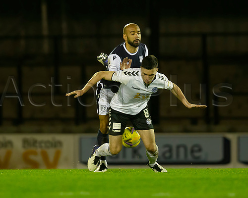 21st November 2020; Somerset Park, Ayr, South Ayrshire, Scotland; Scottish Championship Football, Ayr United versus Dundee FC; Liam Fontaine of Dundee challenges for the ball with Michael Miller of Ayr United