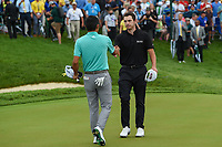6th June 2021; Dublin, Ohio, USA; Collin Morikawa (USA) shakes hands with Patrick Cantlay (USA) following the playoff hole during the Memorial Tournament final round at Muirfield Village Golf Club
