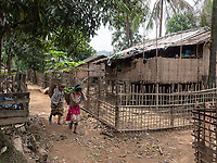 "The Panmaung village at the Lay Mro River and home of the ""spider women"" from the Chin Tribe, ethnic minorities in the Rakhine State of Myanmar."
