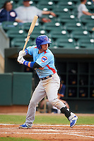 Tennessee Smokies second baseman Stephen Bruno (3) at bat during a game against the Montgomery Biscuits on May 25, 2015 at Riverwalk Stadium in Montgomery, Alabama.  Tennessee defeated Montgomery 6-3 as the game was called after eight innings due to rain.  (Mike Janes/Four Seam Images)