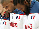 Boris Diaw (L) and Ronny Turiaf of France line up for the national anthem. France v Canada, friendly basketball match in preparation for the European championships. Palais Des Sports, Toulouse, France, 27th July 2011.