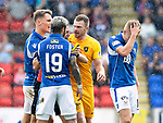 St Johnstone v Livingston….10.08.19      McDiarmid Park     SPFL <br />Ref Andrew Dallas holds back Nicky Devlin after he recated to being fouled by Ali McCann<br />Picture by Graeme Hart. <br />Copyright Perthshire Picture Agency<br />Tel: 01738 623350  Mobile: 07990 594431