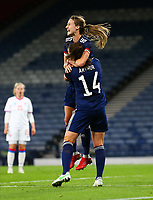 21st September 2021; Hampden Park, Glasgow, Scotland: FIFA Womens World Cup qualifying, Scotland versus Faroe Islands; Christy Grimshaw of Scotland celebrates after she makes it 4-0 in the 39th minute