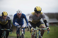 Moreno Hofland (NLD/LottoNL-Jumbo) pushing through the foul weather on a cobbled section<br /> <br /> GP Samyn 2016