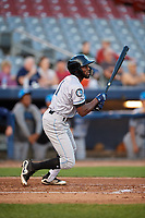 Hudson Valley Renegades left fielder Bryce Brown (1) follows through on a swing during a game against the Connecticut Tigers on August 20, 2018 at Dodd Stadium in Norwich, Connecticut.  Hudson Valley defeated Connecticut 3-1.  (Mike Janes/Four Seam Images)