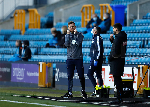 31st October 2020; The Den, Bermondsey, London, England; English Championship Football, Millwall Football Club versus Huddersfield Town; Alex Pearce of Millwall taking charge of Millwall side after Millwall Manager Gary Rowett and Millwall Assistant Manager Adam Barrett tested positive for the coronavirus