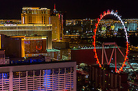 Las Vegas, Nevada at Night.  The High Roller as seen from the Eiffel Tower.  The High Roller is the world's tallest observation wheel as of 2015.