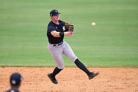 FCL Yankees shortstop Trey Sweeney (33) throws to first base during a game against the FCL Tigers West on July 31, 2021 at Tigertown in Lakeland, Florida.  (Mike Janes/Four Seam Images)
