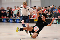 Ry McLead of Tauranga Boys College and Daniel Fuller of Wellington College battle for the ball during the NZ Secondary Schools Senior Boys Final between Wellington College and Tauranga Boys' College at ASB Sports Centre, Wellington on 26 March 2021.<br /> Copyright photo: Masanori Udagawa /  www.photosport.nz