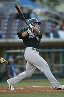 Omar Quintanilla of the Modesto Athletics bats during a 2004 season California League game against the Island Empires 66ers at San Manuel Stadium in San Bernardino, California. (Larry Goren/Four Seam Images)