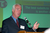 Montreal, May 10, 2001<br /> Andre De Villers, M.D., President and CEO of Theratechnologies Inc. present his report at the company annual meeting, May 10 in Montreal, CANADA.<br /> Theratechnologies Inc is a Canadian biopharmaceutical company engaged in the fields of therapeuticc peptides and cell theraphy.<br /> One of their products ; Theralux (tm) has reached Phase I/II status in CML ans is at a pivotal stage in NHL, bringing this product closer to commercialization<br /> By the 2nd quater of 2002, Theratechnologies expect to fullfill all the requirements to be listed on Nasdaq.<br /> Photo by Pierre Roussel / Liaison<br /> NOTE:  Corrected Nikon D-1 JPEG opened as NTSC saved as Adobe RGB color space..