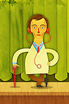 Illustrative image of confident male doctor standing against curtains