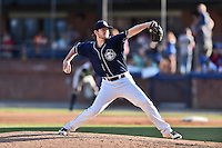 Asheville Tourists starting pitcher David Hill (34) delivers a pitch during a game against the Columbia Fireflies at McCormick Field on June 18, 2016 in Asheville, North Carolina. The Tourists defeated the Fireflies 5-4. (Tony Farlow/Four Seam Images)
