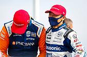 #9: Scott Dixon, Chip Ganassi Racing Honda, #30: Takuma Sato, Rahal Letterman Lanigan Racing Honda in victory lane