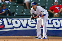 Round Rock Express third baseman Brandon Snyder #29 on defense during the Pacific Coast League baseball game against the Nashville Sounds on August 26th, 2012 at the Dell Diamond in Round Rock, Texas. The Sounds defeated the Express 11-5. (Andrew Woolley/Four Seam Images).