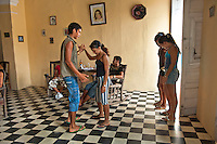 Teenagers learning to dance