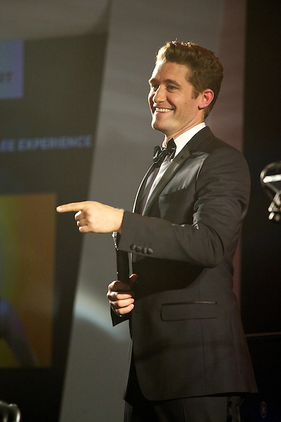 Matthew Morrison from Glee gives a speech at Elton John's White Tie and Tiara Ball