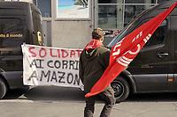 - Milano, 26 Febbraio 2019, sciopero dei corrieri espresso che fanno la consegna dei pacchi per Amazon<br /> <br /> - Milan, 26 February 2019, strike by express couriers who deliver packages for Amazon