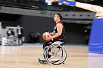 A member of Japan's national wheelchair basketball team gives a demonstration during the Grand Opening Ceremony of Ariake Arena on February 2, 2020, Tokyo, Japan. The new sporting and cultural centre will host the volleyball and wheelchair basketball competitions during the Tokyo 2020 Olympic Games. (Photo by Rodrigo Reyes Marin/AFLO)