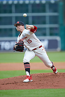 Houston Cougars starting pitcher Trey Cumbie (15) in action against the Kentucky Wildcats in game two of the 2018 Shriners Hospitals for Children College Classic at Minute Maid Park on March 2, 2018 in Houston, Texas.  The Wildcats defeated the Cougars 14-2 in 7 innings.   (Brian Westerholt/Four Seam Images)