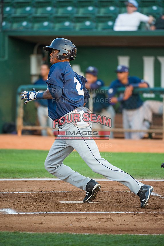 Carlos Belonis (2) of the Helena Brewers at bat against the Ogden Raptors in Pioneer League action at Lindquist Field on August 19, 2015 in Ogden, Utah. Ogden defeated Helena 4-2.  (Stephen Smith/Four Seam Images)