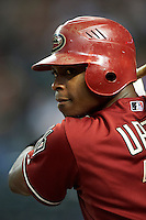 Arizona Diamondbacks outfielder Justin Upton #10 during a National League regular season game against the Colorado Rockies at Chase Field on October 3, 2012 in Phoenix, Arizona. Colorado defeated Arizona 2-1. (Mike Janes/Four Seam Images)