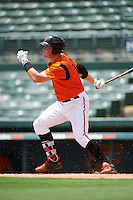GCL Orioles designated hitter Seamus Curran (19) at bat during a game against the GCL Red Sox on August 16, 2016 at the Ed Smith Stadium in Sarasota, Florida.  GCL Red Sox defeated GCL Orioles 2-0.  (Mike Janes/Four Seam Images)