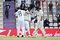 Mohammad Shami, India and Virat Kohli, India celebrate the wicket of Colin de Granhomme, New Zealand during India vs New Zealand, ICC World Test Championship Final Cricket at The Hampshire Bowl on 22nd June 2021