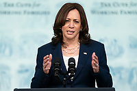 U.S. Vice President Kamala Harris speaks during an event marking the day that families will get their first monthly Child Tax Credit relief payments through the American Rescue Plan at the White House on Thursday July 15, 2021 in Washington, D.C. <br /> CAP/MPIFS<br /> ©MPIFS/Capital Pictures