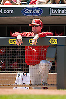 Darin Erstad #17 of the Nebraska Cornhuskers looks on during a 2015 Big Ten Conference Tournament game between the Nebraska Cornhuskers and Michigan State Spartans at Target Field on May 20, 2015 in Minneapolis, Minnesota. (Brace Hemmelgarn/Four Seam Images)