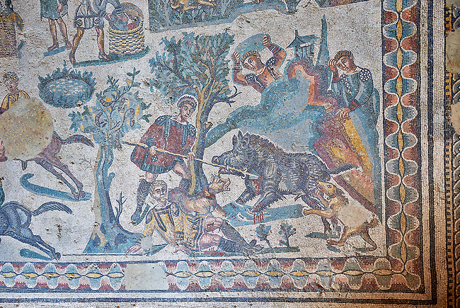 Hunters hunting a boar. Roman mosaic floor of the Room of The Small Hunt, no 25 - Roman mosaics at the Villa Romana del Casale ,  circa the first quarter of the 4th century AD. Sicily, Italy. A UNESCO World Heritage Site.