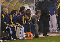 24 APRIL 2010:  Real Salt Lake Head Coach Jason Kreis sit on the bench during the Real Salt Lake at Columbus Crew MLS soccer game in Columbus, Ohio. Columbus Crew defeated RSL 1-0 on April 24, 2010.