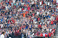KANSAS CITY, KS - JULY 18: USA supporters during a game between Canada and USMNT at Children's Mercy Park on July 18, 2021 in Kansas City, Kansas.