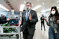 Sen. Joe Manchin (D-W.Va.) arrives at the Capitol on Wednesday, February 10, 2021 for the second day of the impeachment trial of former President Donald Trump.<br /> CAP/MPI/RS<br /> ©RS/MPI/Capital Pictures