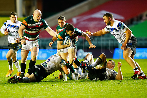 3rd January 2021; Welford Road Stadium, Leicester, Midlands, England; Premiership Rugby, Leicester Tigers versus Bath Rugby; Matteo Scott of Leicester Tigers is tackled by Tom Dunn of Bath Rugby
