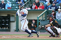 April 15th 2008:  Infielder Brent Lillibridge (11) of the Richmond Braves, Class-AAA affiliate of the Atlanta Braves, during a game at Frontier Field in Rochester, NY.  Photo by:  Mike Janes/Four Seam Images
