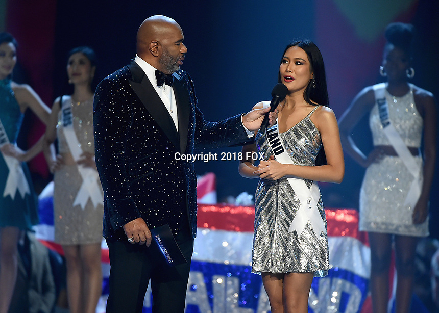 BANGKOK, THAILAND - DECEMBER 17:  Host Steve Harvey and Miss Thailand Sophia Kanchanarin  at the 2018 MISS UNIVERSE competition at the Impact Arena in Bangkok, Thailand on December 17, 2018. (Photo by Frank Micelotta/FOX/PictureGroup)