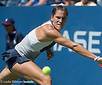 Andrea Petkovic (GER) loses the first set against Johanna Konta (GBR) 7-6 at the US Open in Flushing, MY on September 5, 2015.