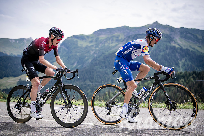 race leaders Julian Alaphilippe (FRA/Deceuninck-QuickStep) & Pavel Sivakov (RUS/Ineos) <br /> <br /> Stage 5: Megève to Megève (154km)<br /> 72st Critérium du Dauphiné 2020 (2.UWT)<br /> <br /> ©kramon